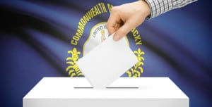34029203 - voting concept - ballot box with national flag on background - kentucky